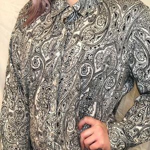 Paisley print oversized button up